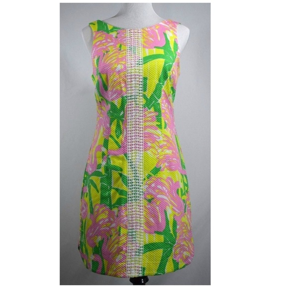 ee6b2f34a86 Lilly Pulitzer for Target Dresses   Skirts - LILLY PULITZER Pink Flamingo  Yellow Shift Dress